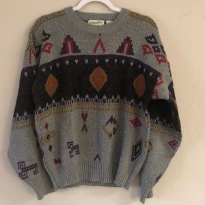 Vintage Tribal Grey Crewneck Pullover Sweater L XL